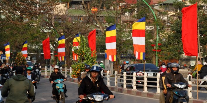Temple flags for Tet