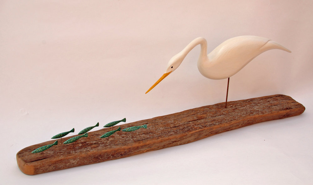 EGRET with WEE GREEN FISH