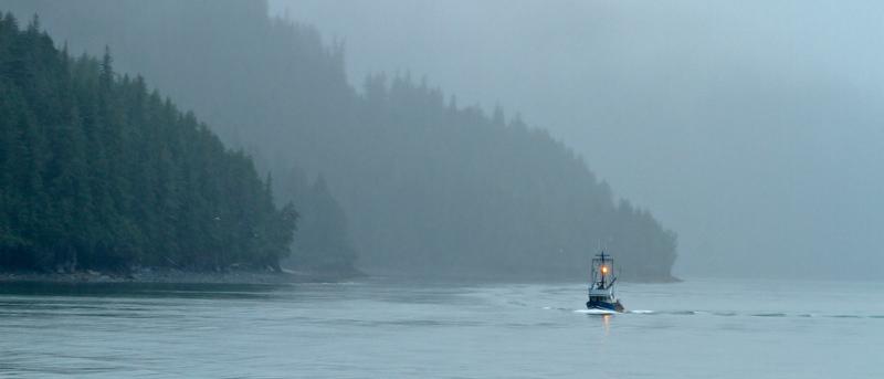 Bateau de pêche dans la brume