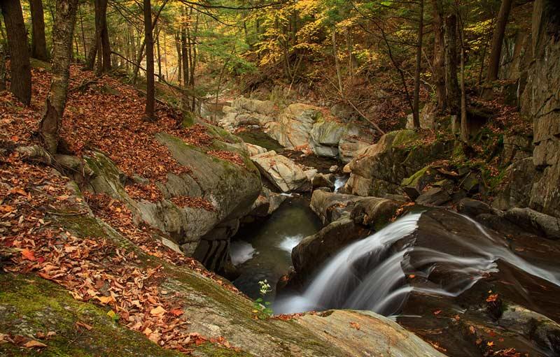 Chutes de Honey Hollow Falls à l'automne