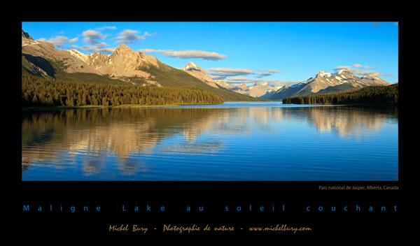 Lac Maligne au soleil couchant