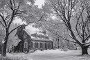 Maison historique Brousseau en hiver - Noir et blanc