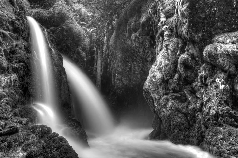Virgin Creek Falls - Noir et blanc