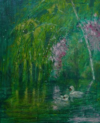 Summer Swans on green