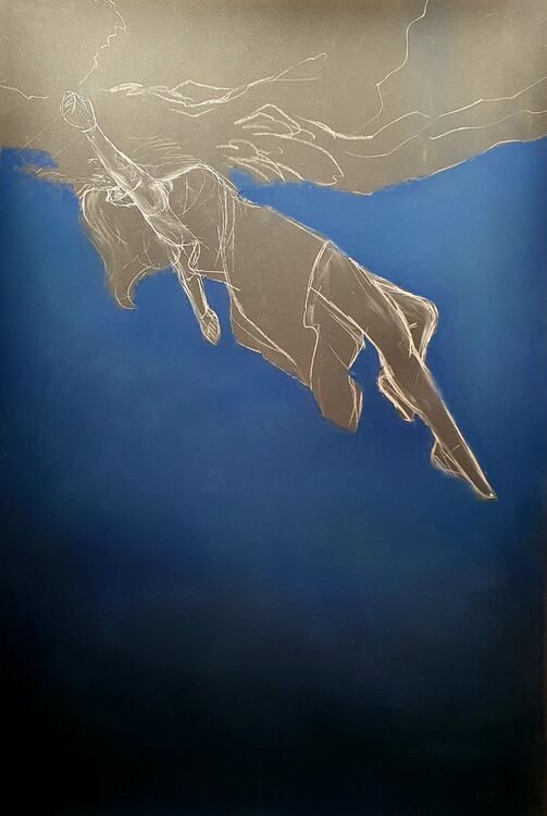 Untitled, soft pastel on paper, 68x100cm, work in progress
