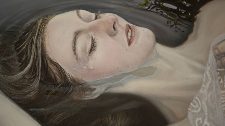 close up of Ophelia's face in my painting Swan Song