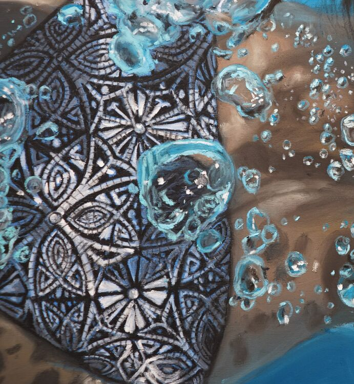Close up of the bikini and bubbles in a swimmer painting. I lost count of how many bubbles I painted!