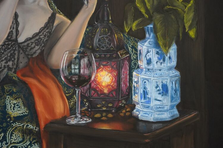 Close up of the wine glass, lantern and china vase in Black Swan.