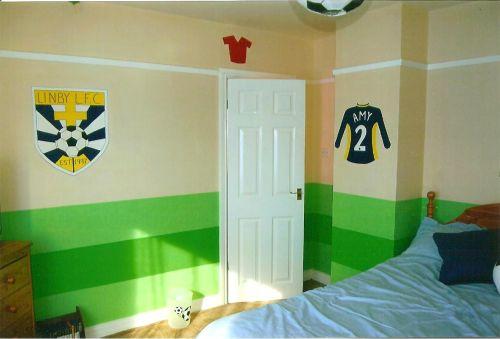 Girl's Local football team bedroom