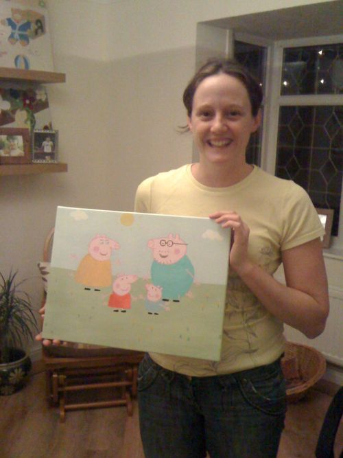 The KidsCanvases Children In Need raffle winner - Hayley Morris with her choice of canvas - Peppa Pig :)