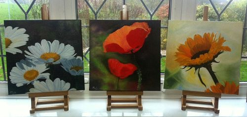 Set of three summer time floral canvases