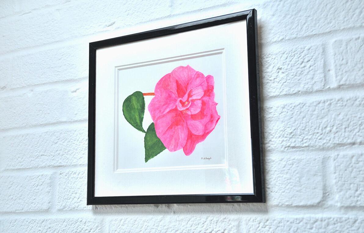 'Camellia framed and hanging.
