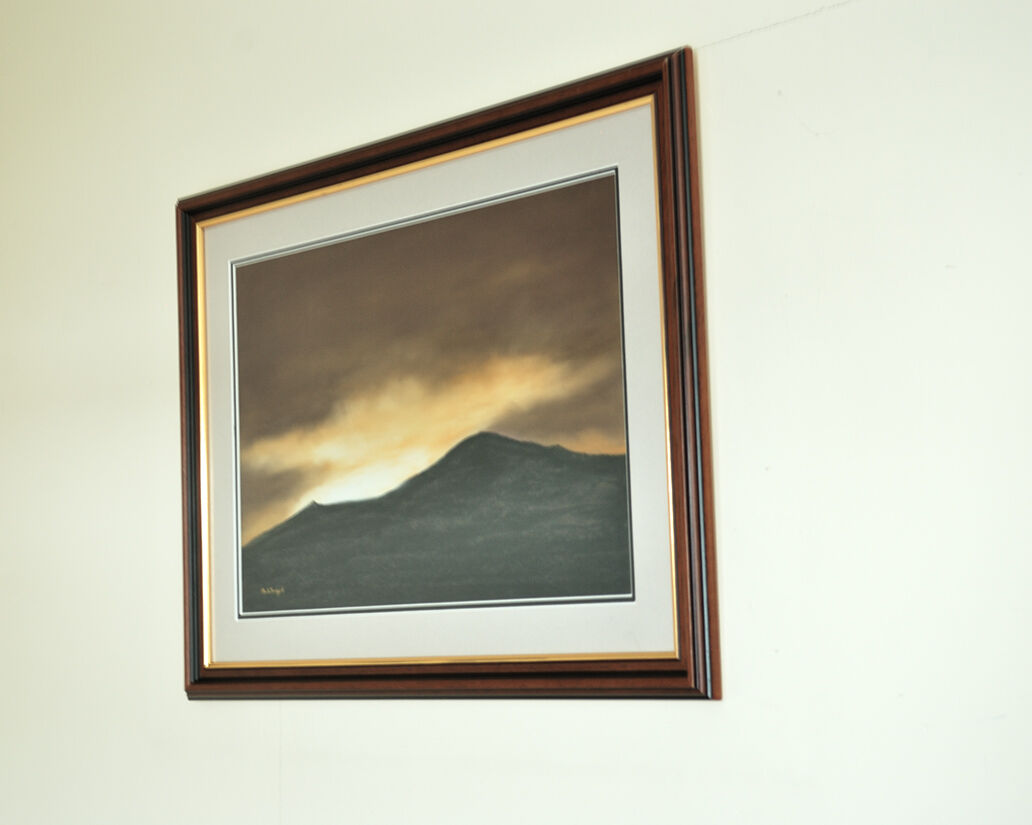 'Goodnight Mountain framed and hanging.