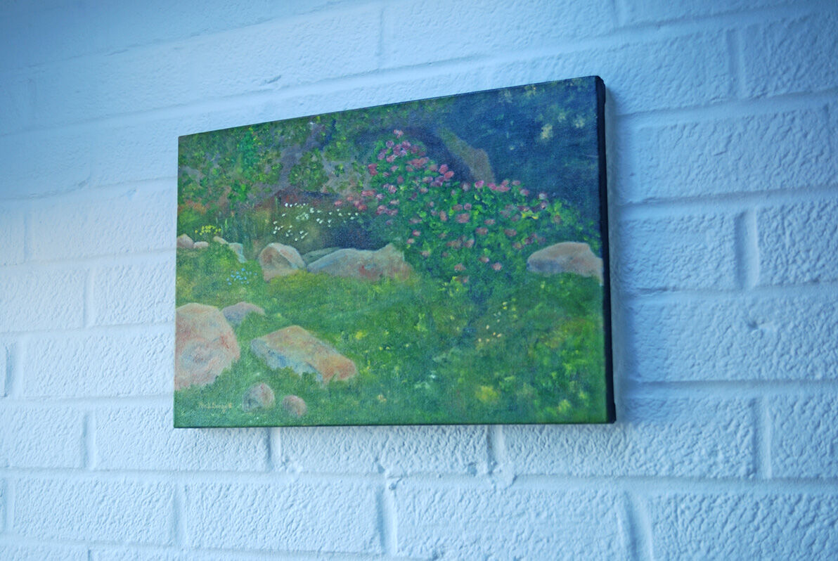'Pink Rocks in Italy' hanging