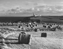 Galley head lighthouse and bales, West Cork