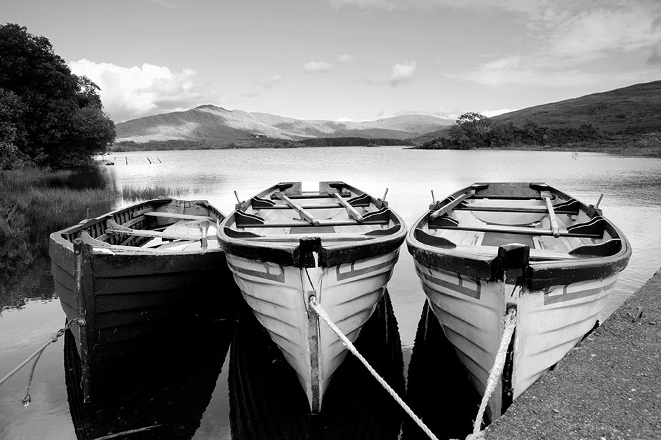 Three boats, Cloonee Lough, Kenmare, County Kerry