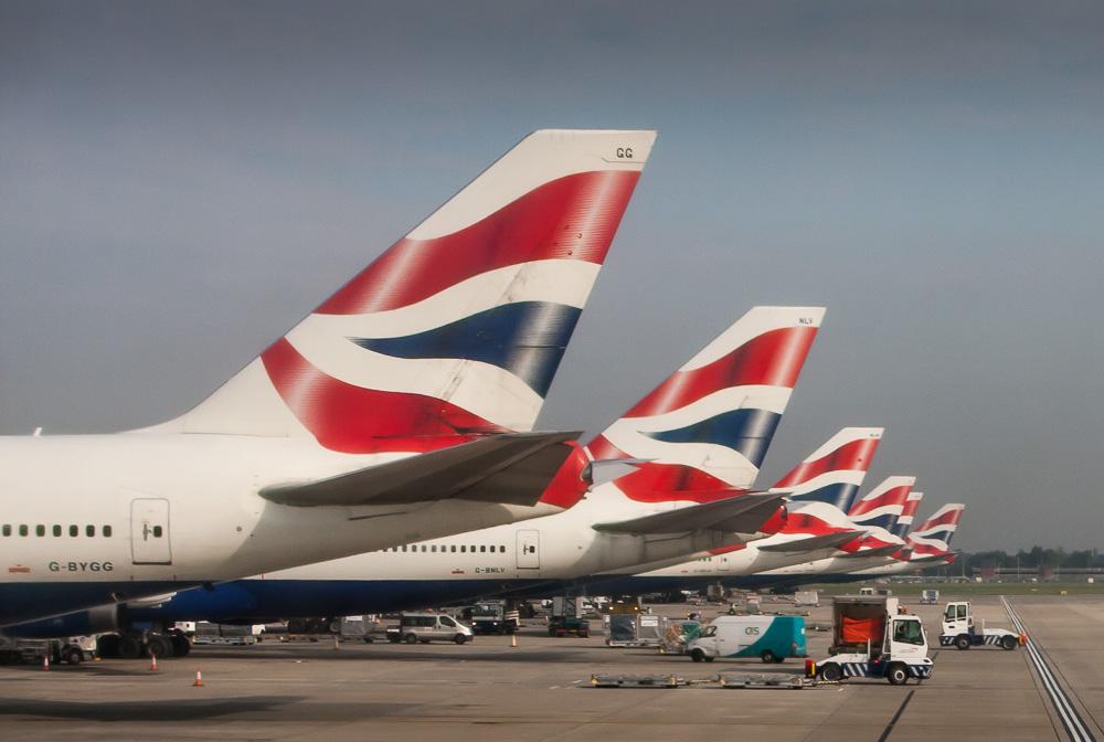 BA planes at Heathrow T5
