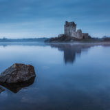 Dunguaire Castle blue light. Kinvara. County Galway.