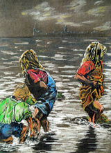 Children Paddling by John Bowman - Coloured Pencil