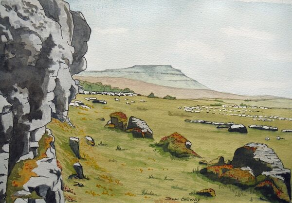Ingleborough from Keld Bank back of the Hill Inn in Chapel-le-Dale by John Conway (WC).