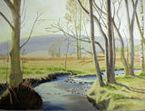 Light through the trees by David Copestake - Oil