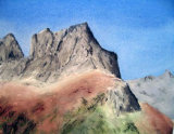 Mountains from Col Du Glandon by Cherie Chapman - Watercolour