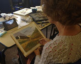 Oct 2016 Cherie working on a pastel landscape