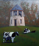 Pepperpot with Cows By John Conway & SAS Wed Group - Acrylic - 610 x 725