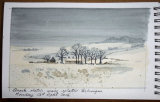 Sketch of Winter Farm by John Conway - Watercolour