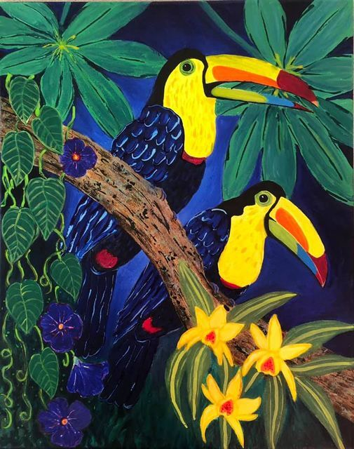 Two Toucans by Esther Murry (Acrylic)