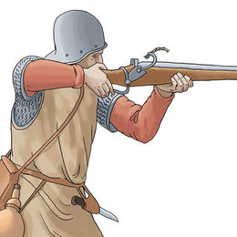 Infantry with gun at the Battle of Tewkesbury
