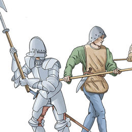 Pikemen and mercenary at the Battle of Tewkesbury