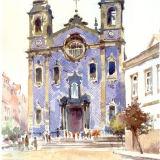 Blue-tiled church Porto, Portugal