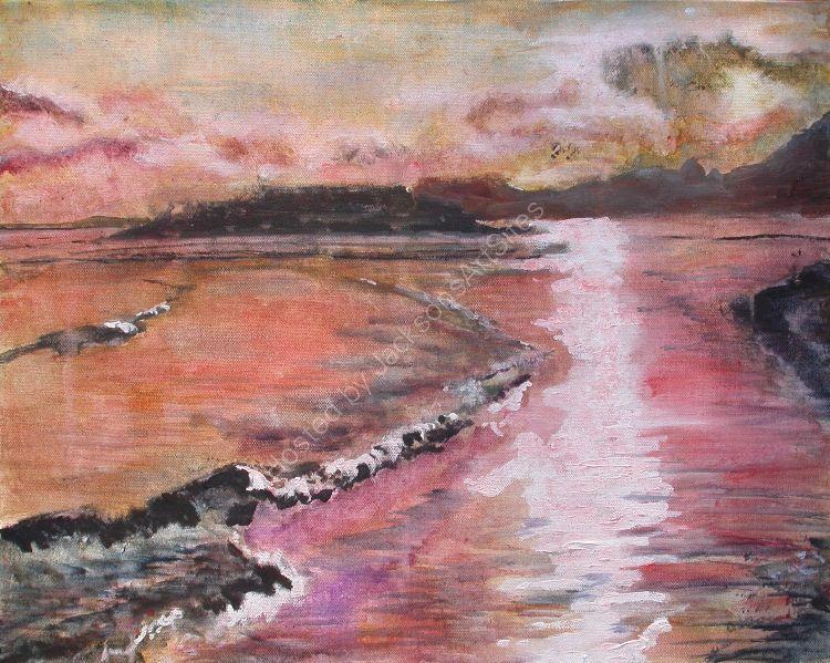Sunset on Budleigh Salterton Beach