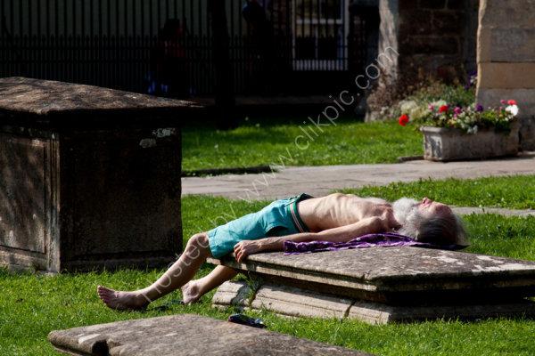 The grave sunbather