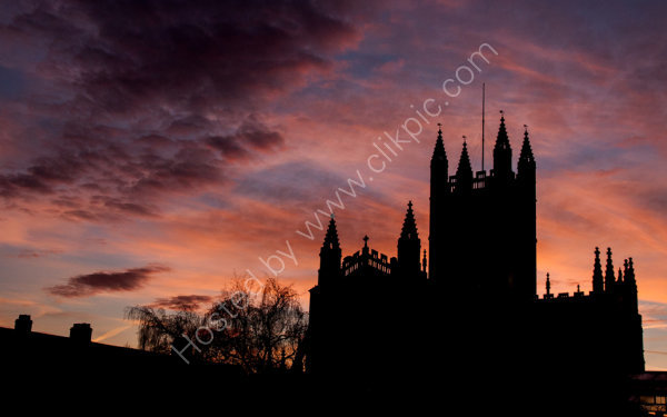 Abbey and sunset