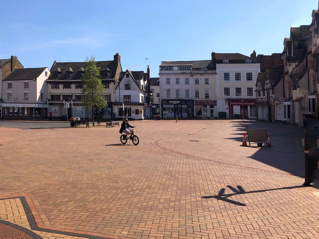 Banbury Market Place, 2pm, 26th April 2020.