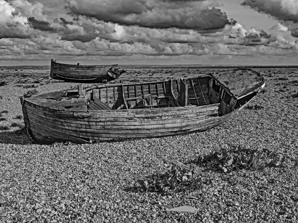 Two Derelict Boats at Dungeness, Black & White, Snapseed Edit