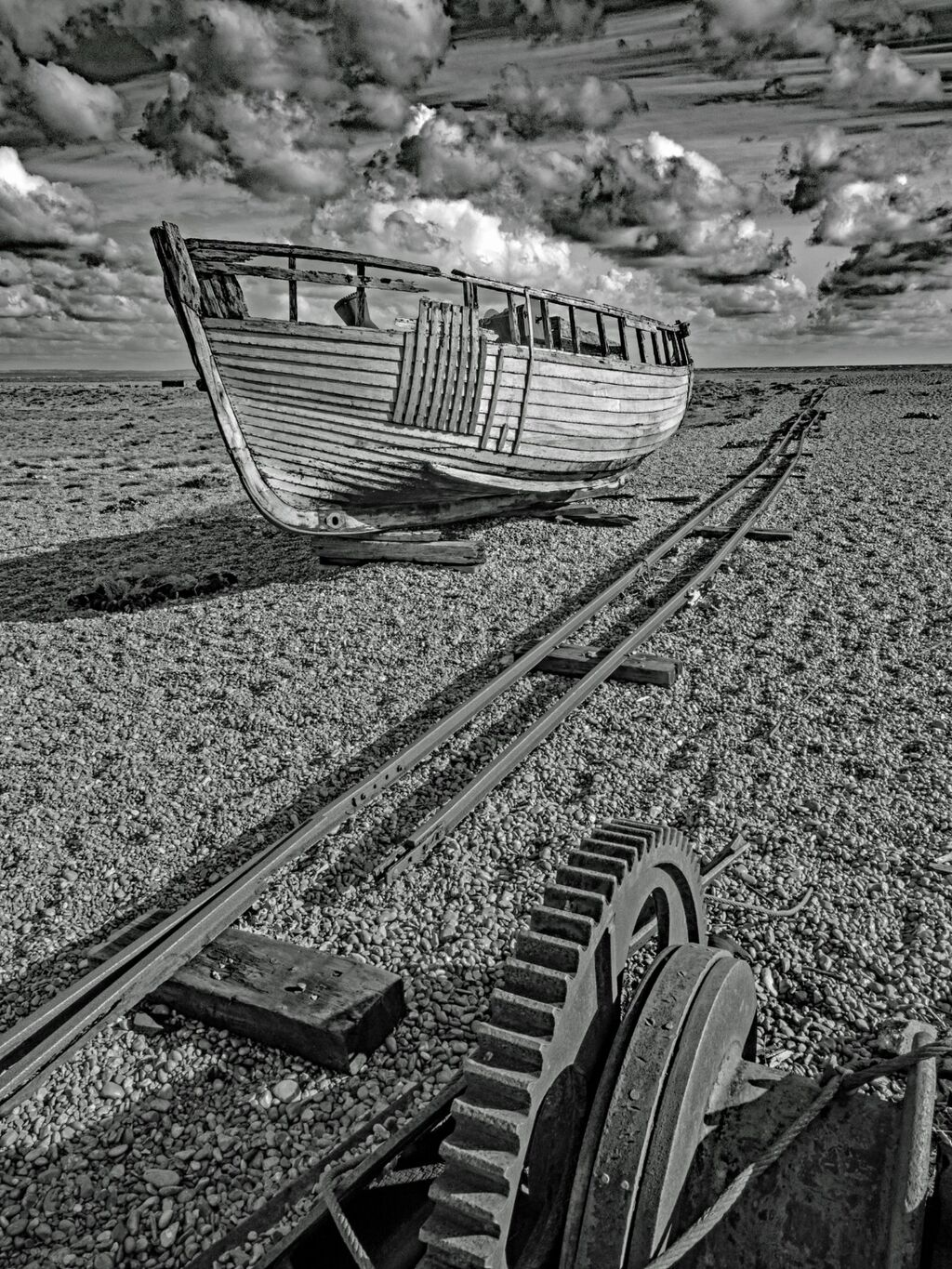 Derelict Boat and Winch at Dungeness
