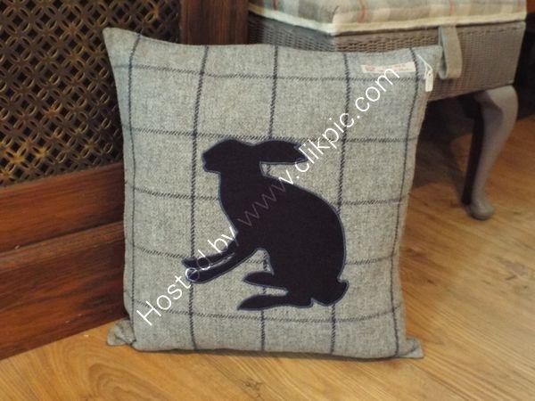 Navy hare cushion