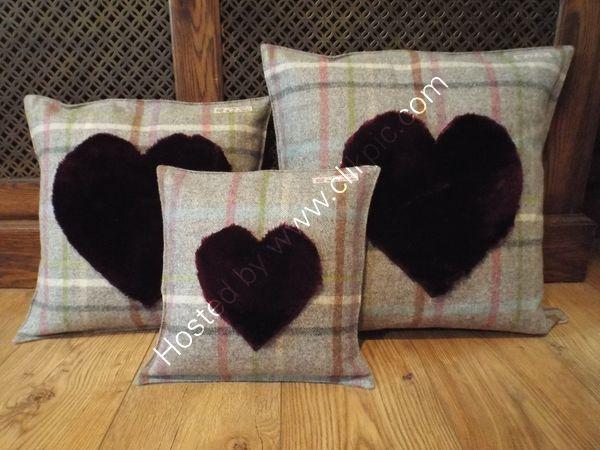 Faux fur heart cushion