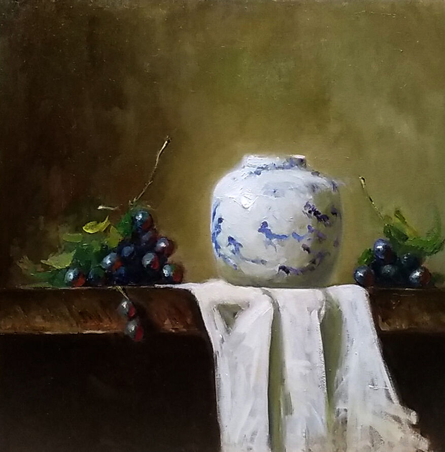 Still life with white and blue vase and grapes