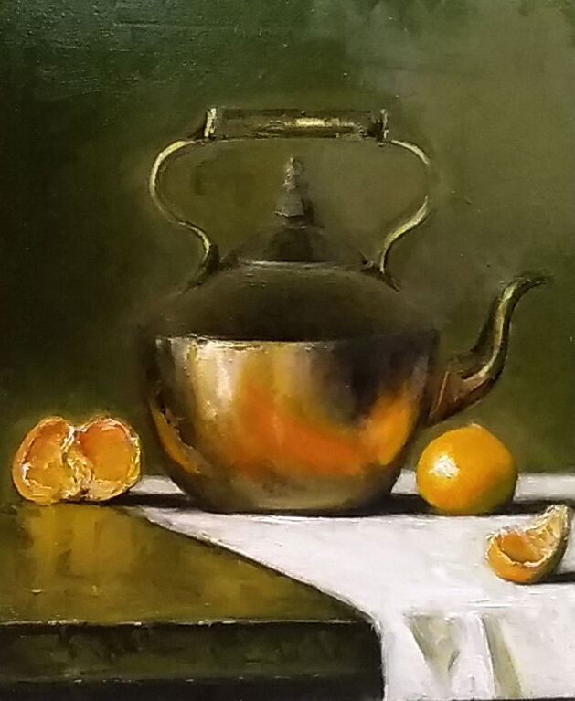 Still life with copper pot and oranges
