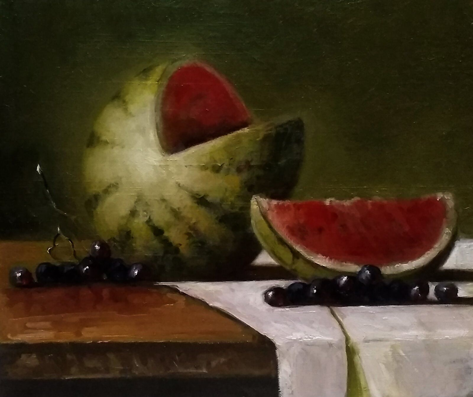 Still life with watermelon and grapes