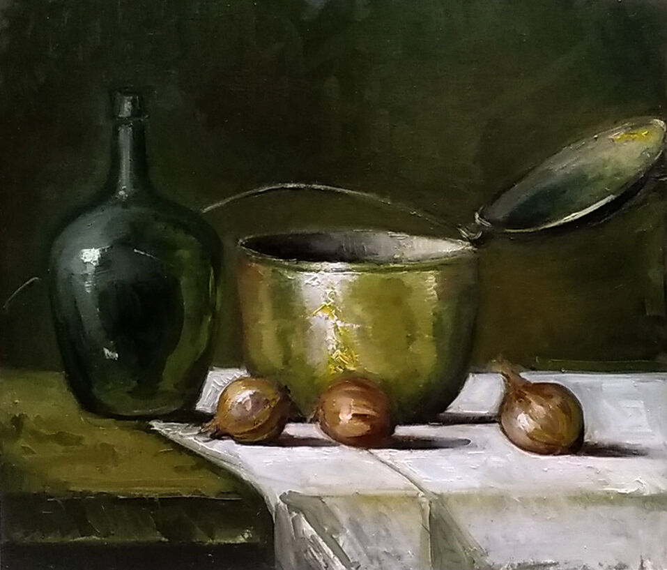 Still life with copper pot and onions