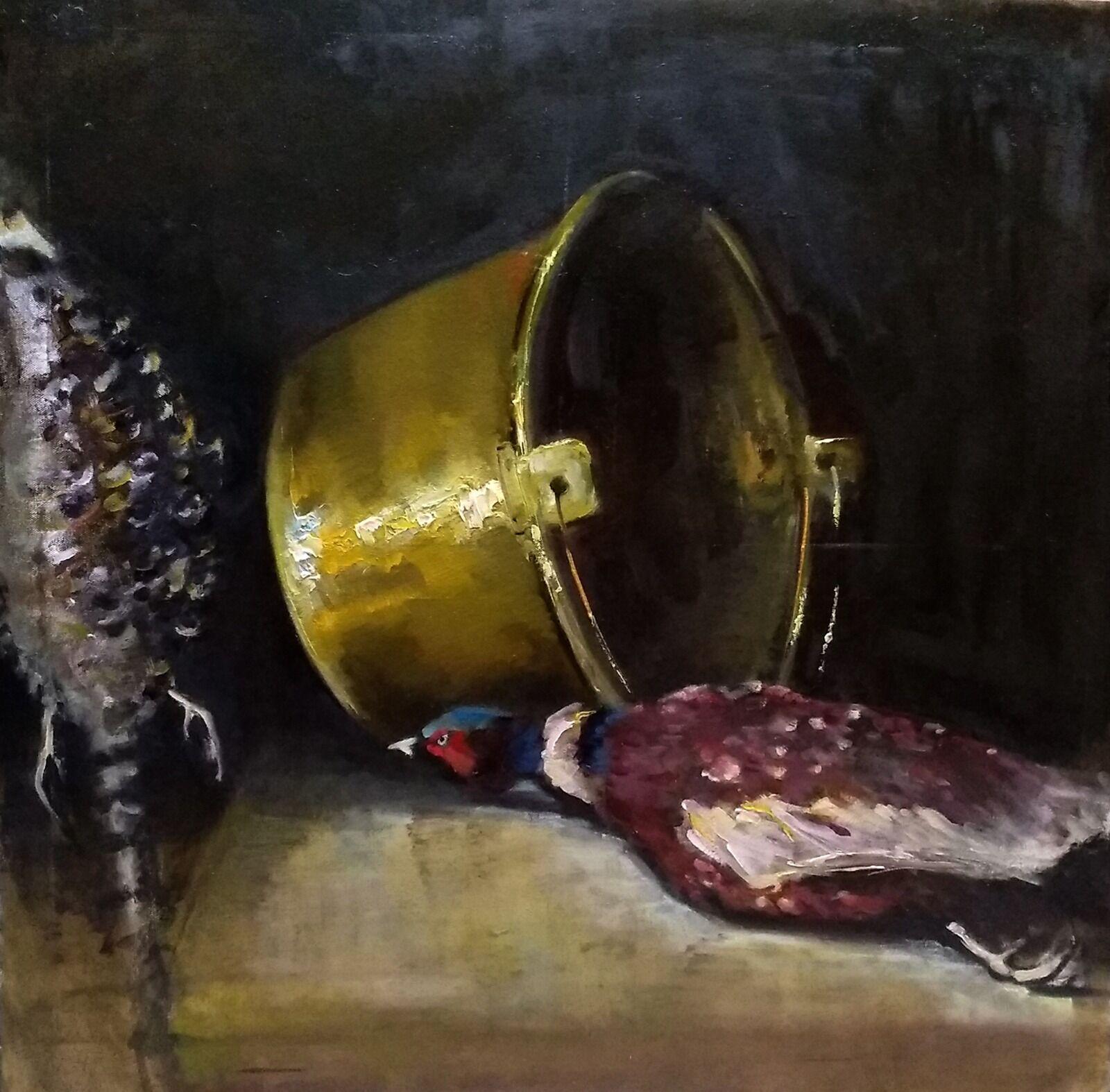 Brass Cauldron with pheasants