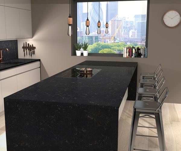 CRL Gold Noir Quartz Kitchen Surfaces