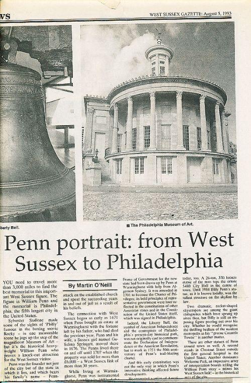 West Sussex Gazette newspaper feature