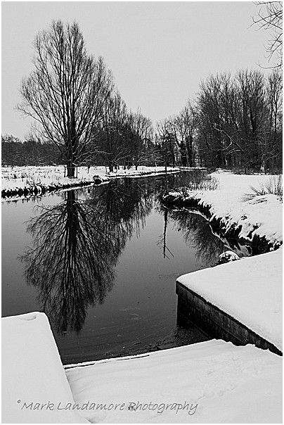 Horstead Lock Cut in the Snow (mono)