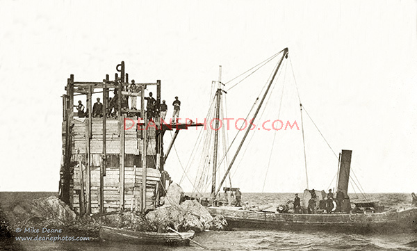 Platte Fougere Lighthouse early in 1909 during building